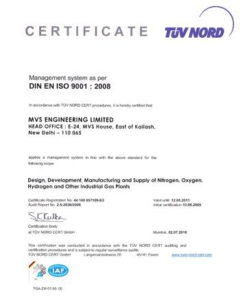 iso 9001:2008 mvs certificate